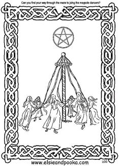 outside the lines coloring book pages - beltane maze activity