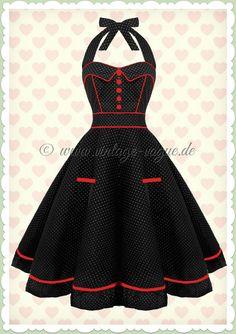 d88677753a3 Hell Bunny 50er Jahre Rockabilly Punkte Kleid - Vanity - Schwarz Weiß Rot