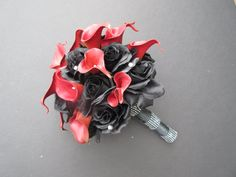 Hey, I found this really awesome Etsy listing at https://www.etsy.com/listing/252215649/red-calla-lilies-and-black-roses-wedding