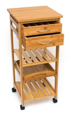 Bamboo Space-Saving Serving Cart with Removable Tray -A functional gift that provides both beauty and utility. -Great for small kitchens, apartments, dorms, hallways, or anywhere you need extra storage. -Rolls on casters for portability. -Made of environmentally friendly bamboo.