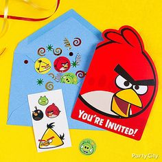Blow them away with confetti and tattoos inside their invites! Click the pic to see more inspiration in our Angry Birds party ideas guide!