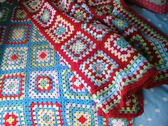 Granny square blankets, Cath Kidson colors by Helen.