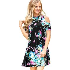 Black Floral Print Cold Shoulder Ruffled Casual A Line Dress ($26) ❤ liked on Polyvore featuring dresses, floral printed dress, short-sleeve dresses, a line dress, short sleeve floral dress and mini dress