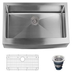 "Miseno MNO163020F 16 Gauge Stainless Steel Farmhouse 30"" Single Basin Stainless Steel Kitchen Sink with Apron Front - Drain Assembly and Fitted Basin Rack Included Free - FaucetDirect.com"