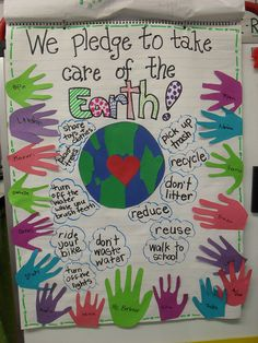 A fun way to involve the whole class this Earth Day with this fun and interactive poster- a pledge to protect the earth! Perfect for an Earth Day unit with kindergarten and first grade kids this spring! Earth Day Projects, Earth Day Crafts, 1st Grade Science, Kindergarten Science, Kindergarten Projects, Interactive Poster, Earth Day Posters, Earth Day Activities, Classroom Activities