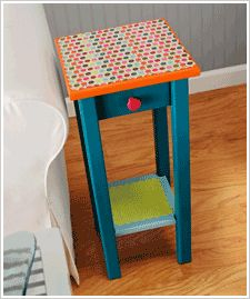End table Re-do-Take your old End-Tables and Re-Paint! :D Use scrap-booking paper for top and use Elmer's clear glue to spread on top..Leaves a glossy feeling and Paper stays!.  Could you use modge podge or a clear protective spray from the hardware store for this?  This might work on a night stand on old furniture.