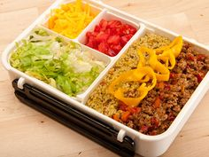 Taco couscous bento box! http://justbento.com/handbook/complete-bento-lists/guy-does-bento-no-2-taco-couscous-bento