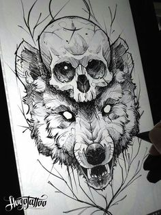 Fabulous Wolf Tattoo Design Ideas Suitable For Anyone Loves Spirit Animal 26 : Fabulous Wolf Tattoo Design Ideas Suitable For Anyone Loves Spirit Animal 26 Wolf Tattoos, Skull Tattoos, Mini Tattoos, Body Art Tattoos, Wolf Tattoo Design, Skull Tattoo Design, Tattoo Designs, Tattoo Sketches, Tattoo Drawings