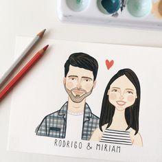 Rodrigo & Miriam // encomenda personalizada pra fechar o mês de setembro cheio de amor ✨ . . . . . . . #watercolor #art #coupleportrait #aquarela #cansonheritage #arte