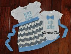 Big Sister Dress Little Brother Bow Tie Set Gray by TheSisterHugs