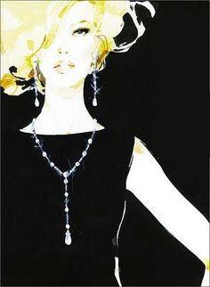 david downtown illustration | david downton, fashion illustrations, diamonds and lbd, little black ...