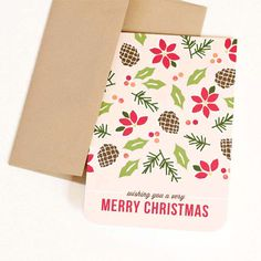 Christmas Card Holiday Card // CHRISTMAS by PearentheticalPress, $4.00