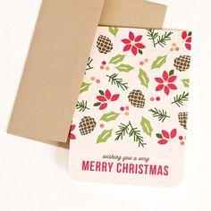Christmas Card Holiday Card // CHRISTMAS by PearentheticalPress, $4.00