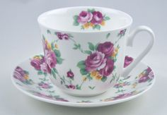 Romance Rose - English Bone China Breakfast Cup and Saucer - Roy Kirkham, England