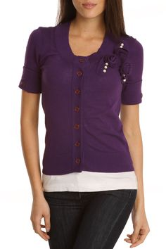 Beatrice Holloway Pin Me Cardigan In Eggplant - Beyond the Rack
