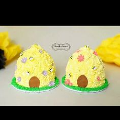 Beehive Cake Smash - These cakes were made for a twins bee themed cake smash session. Buttercream cake with fondant accents.