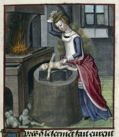 Not all the medieval depictions of childbirth and infancy fit into these familiar patterns, however.  A copy of the Roman de la Rose dating from c. 1490 – c. 1500 includes a miniature of the personification of Nature literally forging a baby, hammering his shape on an anvil while discarded attempts lie on the floor nearby.