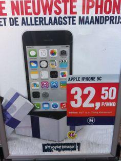 Aanbieding nieuwste iPhone 5c. Mooi, groot en duidelijk wat er aan de hand is. Zal zeker mensen overhalen een nieuw abbo te nemen.