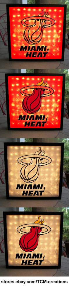 Miami Heat Shadow Boxes with LED lighting.  NBA, National Basketball Association.
