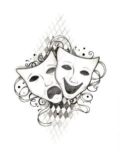 Drama masks! Tattoo design I did for someone who requested for one Several have asked to copy/use this design for personal purposes. However, I still attain all copyright laws so remember to give c...