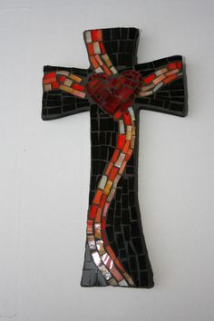 Black Cross with Red Heart and Orange Banner. $30.00, via Etsy.