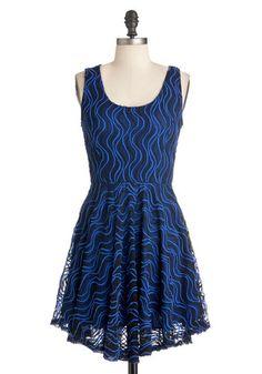 Topo the Charts Dress - Blue, Black, Print, Cutout, Party, A-line, Sleeveless, Short