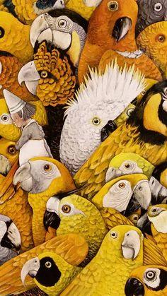 Illustratie: Carll Cneut. Anna Castagnoli. De Gouden Kooi. De Eenhoorn. Design Art Drawing, Graphic Design Art, Art And Illustration, Bee Art, Artwork Images, Bird Drawings, Tarot, Mellow Yellow, Anna