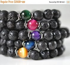 Lava Rock & Tiger Eye Bracelets Mens Bracelets Black Bead Bracelets Stacking Gemstone Bracelets Womens Yoga Bracelets Boho Jewelry Gifts