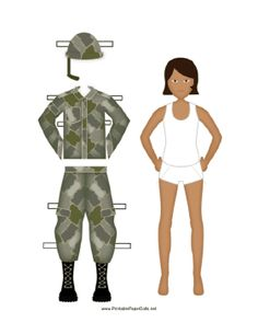 This girl soldier paper doll comes with her uniform. Free to download and print