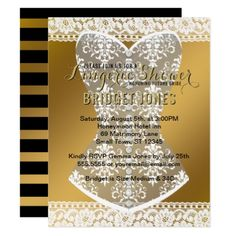 Lingerie Shower Bridal Bachelorette Party Gold Card - lace wedding ideas marriage diy cyo customize special