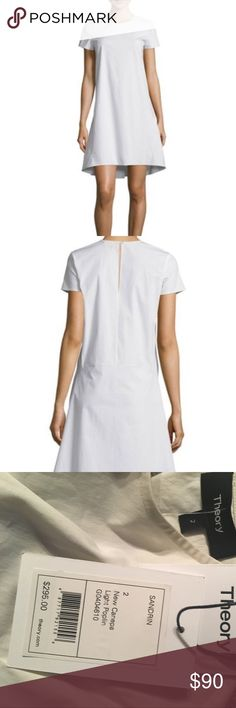 """Brand New Theory Dress Sz. 2 High Fashion Theory dress with (retail $295) tags attached. 33"""" L from shoulder to hem, 30"""" L down center back. Keyhole back closure, short sleeve, slight high-low hem, cotton-spandex, machine wash and round neckline. No Trades but offers accepted. Theory Dresses"""