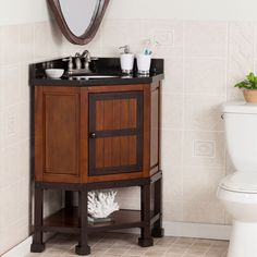 Harper Blvd Edgerton Granite Top Corner Bath Vanity Sink (OS3787TB), Black, Size Single Vanities