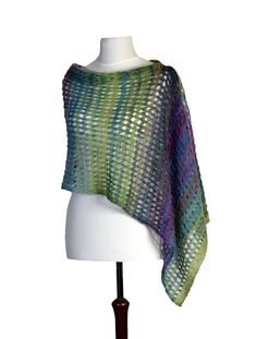 Multicolor lace shawl scarf hand knit with by KFbyMalgorzataDrozd, $89.00