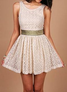 lace sun dress with metallic waistband, and v-shaped back opening