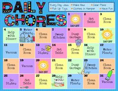 kids chores | For free printable PDFs of these Chore Charts, visit Happy Apple ...