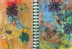 Jane playing with art journal