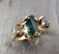 Raw blue green Tourmaline Diamond  Gold Engagement Ring Wedding Ring Custom One Of a Kind Gemstone Ring Bespoke Three stone Ring byAngeline