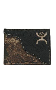Hooey Men's Black with Camo Canvas Inlay Bi-Fold Wallet | Cavender's