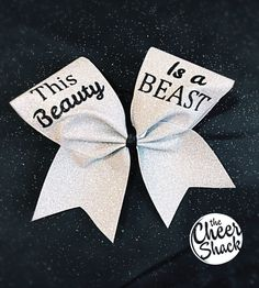 Cheer Bow, This Beauty Is a Beast Silver Cheer Bow, Sports Accessories, Hair Bow, Cheerleading Bow, Dance Bow #ad