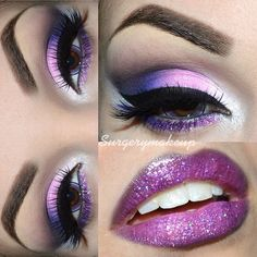 Purple glitter make up