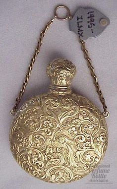 "Antique 20/22kt miniature gold perfume scent bottle England c1800 2-1/8"" high"