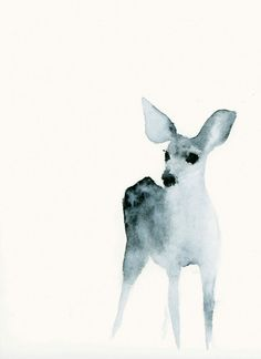 Animal Artwork Watercolor Print from Original Painting Ghost Fawn