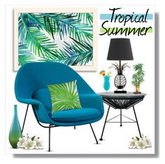 """Tropical Summer"" by lgb321 ❤ liked on Polyvore featuring interior, interiors, interior design, home, home decor, interior decorating, American Flat, womb, Dermond Peterson and Nearly Natural"