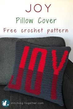 Beautiful crochet pillow cover. Get in the holiday spirit with this free crochet pattern. #RHSS #CrochetChristmas #ChristmasDecor