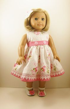 Fits American Girl and 18 Inch Dolls Clothes Sweet Roses and Dots Sleeveless Dress with Matching Hair Bow