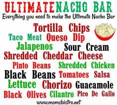 November 6 is National Nacho Day. Celebrate with a Nacho Bar. Nacho Bar Ideas and an Easy CrockPot Queso Dip Recipe. Nacho Bar Party, Taco Bar, Slumber Parties, Grad Parties, Parties Food, National Nacho Day, Ultimate Nachos, Game Day Food, Mexican Food Recipes