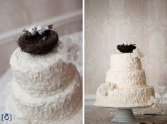 Elegant wedding cake with lovebirds as a cake topper. Very Victorian looking.