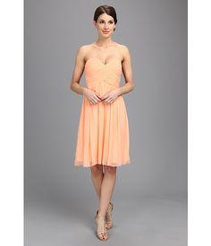 Donna Morgan Morgan Short Silk Chiffon Strapless Dress Bright Guava - 6pm.com