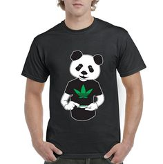 Crazy T Shirts Fashion 2016 Panda Rolling Blunt Weed O-Neck Short-Sleeve Tee Shirts For Men