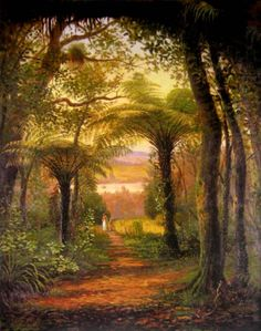 Stroll Through Bush, Waitakere, painted by Charles Blomfield.
